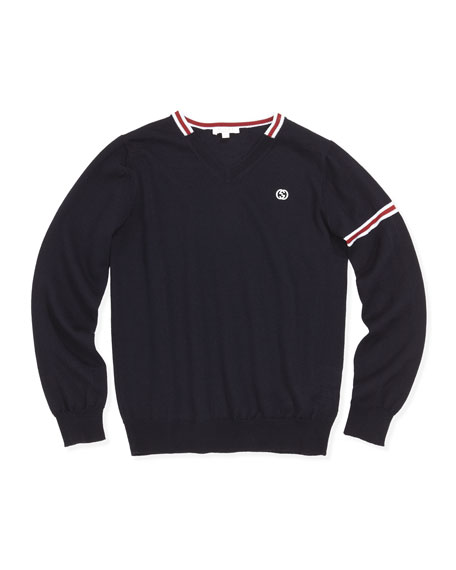 Gucci Web-Detail Pullover Sweater, Navy, 8-12