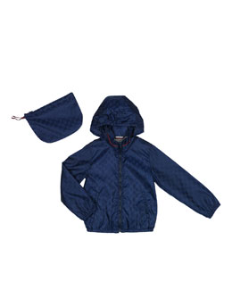 Gucci GG Waterproof Nylon Jacket, Oltremare