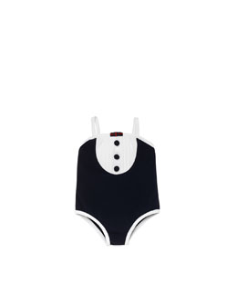 Gucci Baby Girl One-Piece Swimsuit, Navy/White
