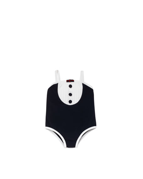 Baby Girl One-Piece Swimsuit, Navy/White
