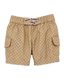 Gucci GG Jacquard Swim Trunks, Beige, 0-24 Months