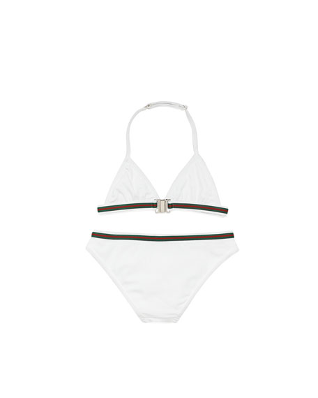 Web-Detail Triangle Two-Piece Swimsuit, White