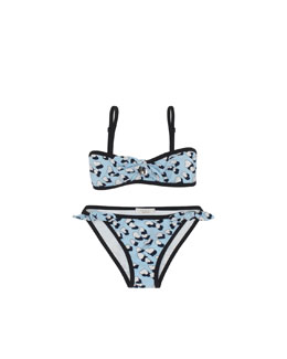 Gucci Hearbeat-Print Two-Piece Swimsuit, Sky Blue
