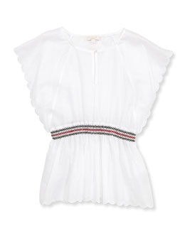 Gucci Caftan Blouse with Web Embroidery, 4Y-10Y