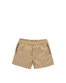 Gucci GG Jacquard Swim Trunks, Beige
