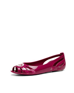 Gucci Youth Cutout Rubber Ballet Flat, Fuchsia