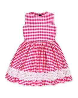Oscar de la Renta Girls' Gingham Party Dress, 2Y-10Y