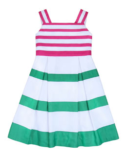 Oscar de la Renta Girls' Grosgrain Ribbon Dress, Hot Pink, 2Y-6Y