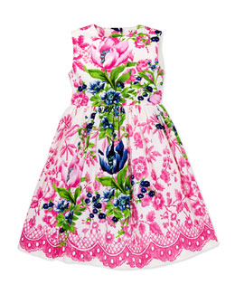 Oscar de la Renta Super Pose Flora Party Dress, 2Y-10Y