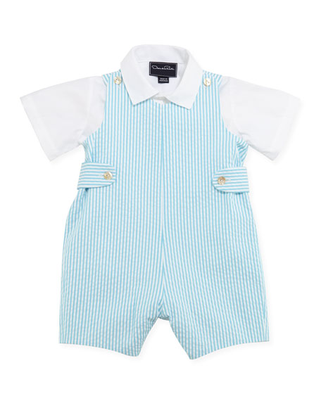 Baby Boys' Seersucker Romper Set, Turquoise, 12-24 Months