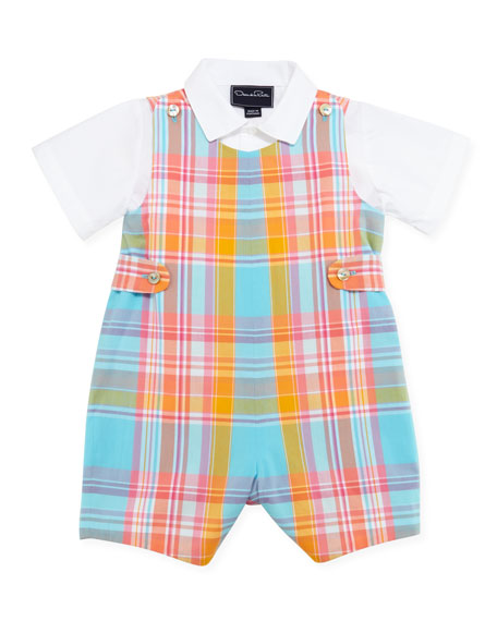Baby Boys' Madras Romper Set, Coral, 12-24 Months