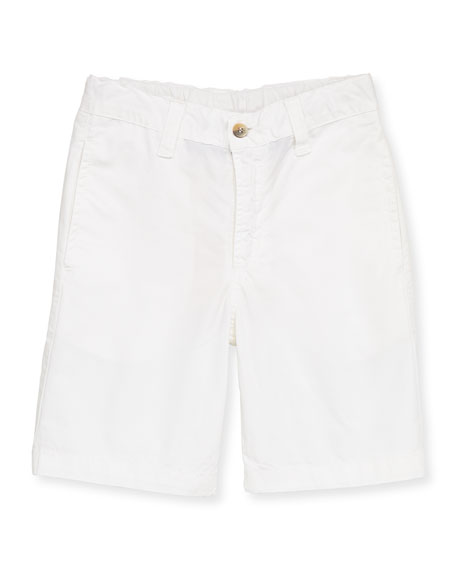 Boys' Brushed Poplin Shorts, White, 2Y-10Y