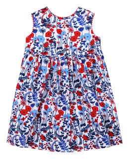 Oscar de la Renta Baby Evora Floral-Print Sleeveless Dress, Navy