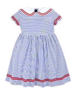 Oscar de la Renta Seersucker Sailor Dress, Navy