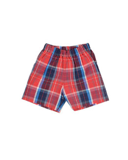Oscar de la Renta Baby Boys' Cotton-Plaid Shorts, Navy, 12-24 Months