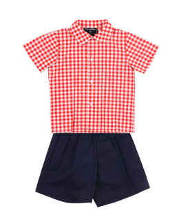 Oscar de la Renta Baby Boys' Check Woven Shirt & Shorts Set, 12-24 Months