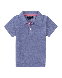 Oscar de la Renta Baby Boys' Heathered-Knit Polo, Navy, 12-24 Months