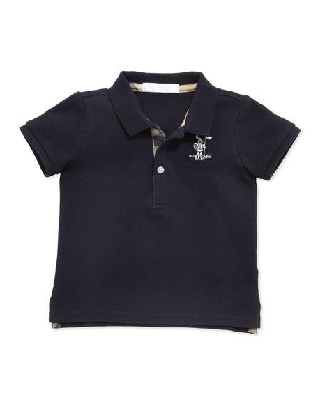 Burberry Palmer Boys' Check-Trim Polo, Navy, 2Y-3Y