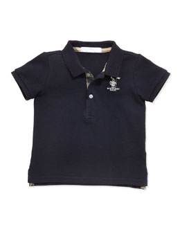 Burberry Infant Boys' Check-Trim Polo, Navy, 6-18 Months