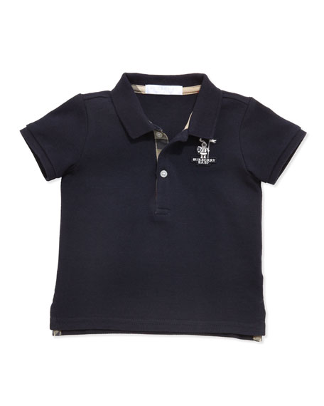 Burberry Palmer Infant Boys' Check-Trim Polo, Navy, 6-18