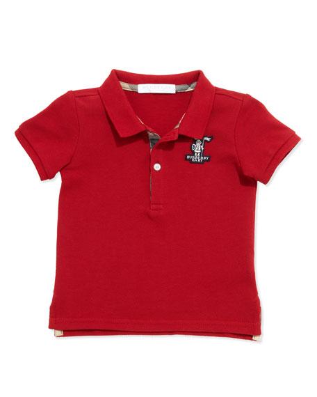 Burberry Palmer Infant Boys' Check-Trim Polo, Red, 6-18