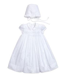 Kissy Kissy Vivian Christening/Baptism Gown & Bonnet, White