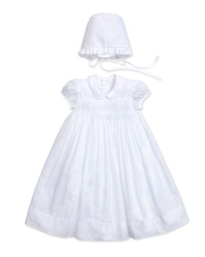 Vivian Christening/Baptism Gown & Bonnet, White