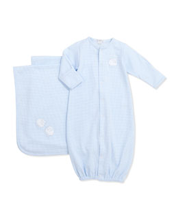 Kissy Kissy Gingham Sheep Convertible Gown, Light Blue