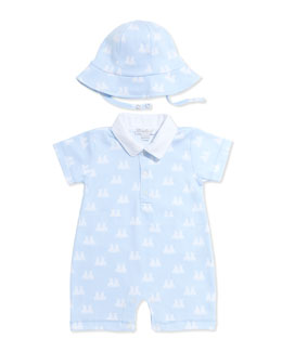 Kissy Kissy Twin Bunnies Short Playsuit, Light Blue