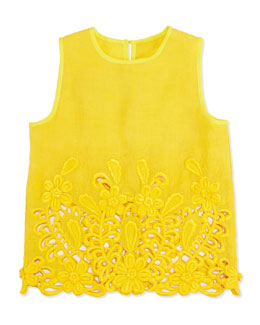 Stella McCartney Thelma Sleeveless Lace Blouse, Yellow, Girls' 2T-10