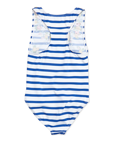 Marcie Floral & Stripes One-Piece Swimsuit, Sizes 2-10