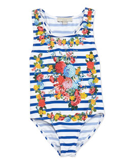 Stella McCartney Marcie Floral & Stripes One-Piece Swimsuit, Sizes 2-10
