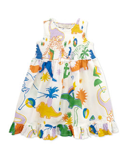 Stella McCartney Dinosaur-Print Smocked Dress, 3-24 Months