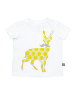 Stella McCartney Chukkle Polka-Dot-Deer Baby Tee, Yellow, 3-24 Months