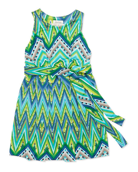 Ikat Jersey Dress, Green/Royal, Sizes 4-6X