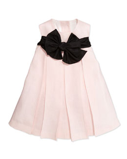 Helena Empire-Waist Dress with Back Ties, Light Pink, Sizes 2T-3T