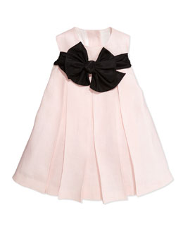 Helena Empire-Waist Dress with Back Ties, Light Pink, 12-24M