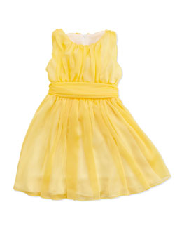 Helena Shirred Georgette Dress, Yellow, Sizes 4-6X