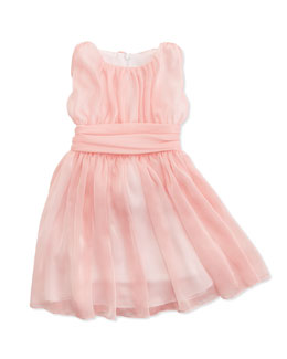 Helena Shirred Georgette Dress, Pink, Sizes 4-6X