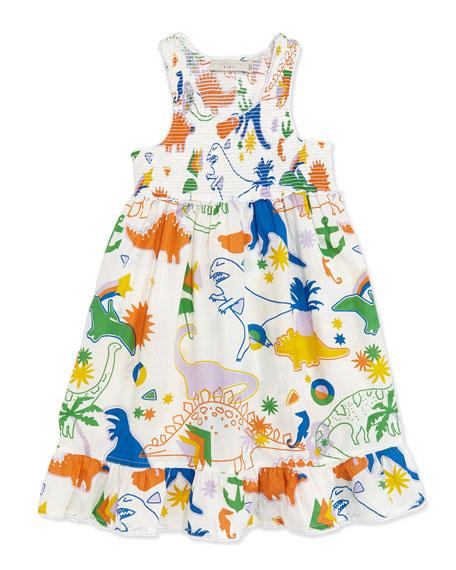 Stella McCartney Dinosaur-Print Smocked Dress, Sizes 2-10