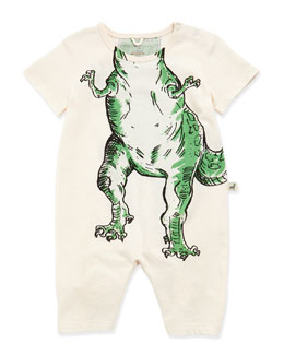 Stella McCartney Dinosaur-Print Cotton Playsuit, White, 3-24 Months
