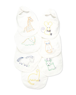 Stella McCartney Teddie 7-Day Bib Set, White