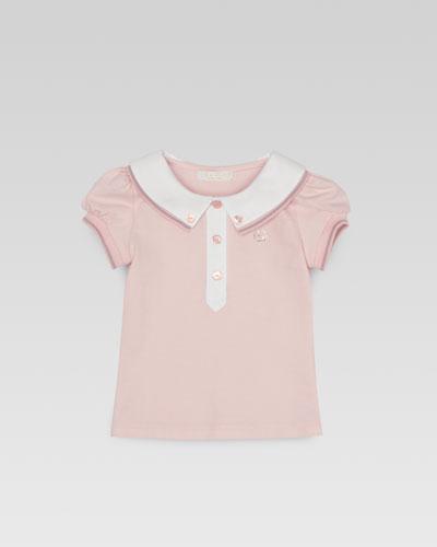 Gucci Baby Girls' Web-Detail Pique Polo, 0m-24m