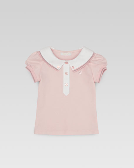 Baby Girls' Web-Detail Pique Polo, 0m-24m