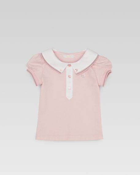 Baby Girls' Web-Detail Pique Polo, 0m-24m