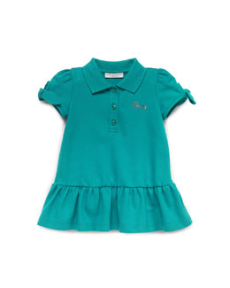 Gucci Stretch-Pique Polo Dress, Green, 0-24 Months