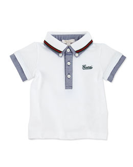 Gucci Short-Sleeve Double-Collar Polo, Blue, 0-24 Months