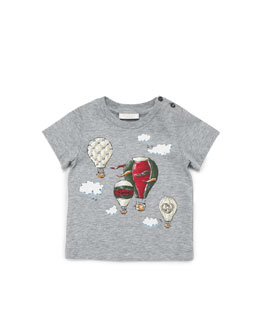 Gucci Hot-Air Balloon Printed Tee, Light Gray, 0-24 Months