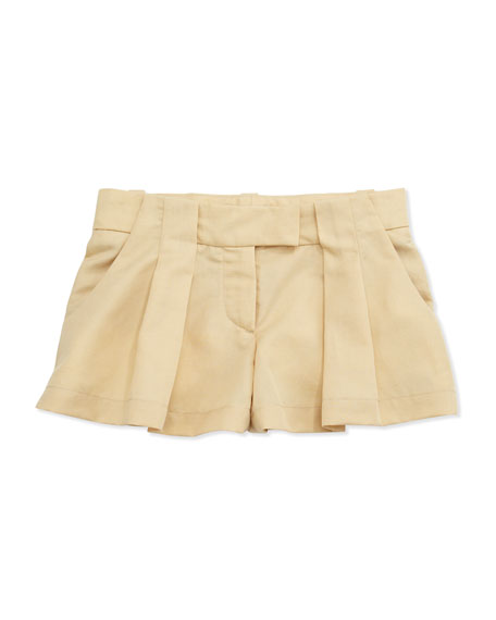 Pleated Twill Shorts, Sand, Sizes 2-5