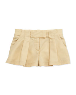 Chloe Pleated Twill Shorts, Sand, Sizes 6-10
